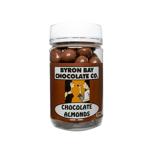 BYRON BAY CHOCOLATES – MILK AND DARK ALMONDS JAR